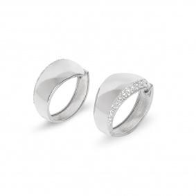 18k White Gold Diamond Set Hoop Earrings 0.62ct